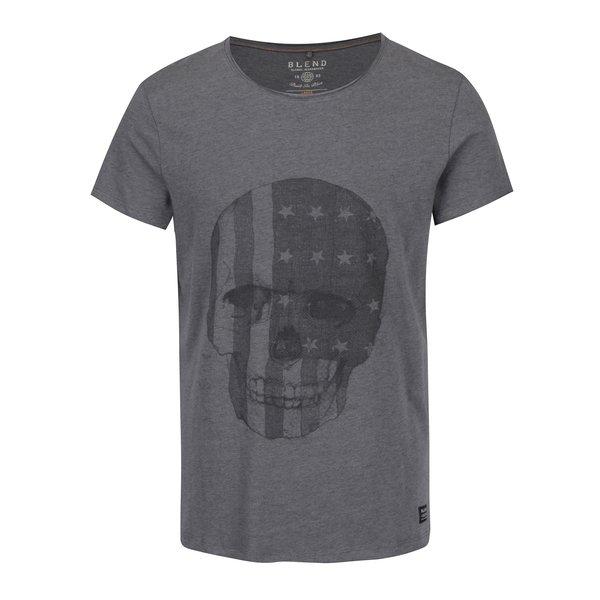 Tricou gri melanj cu print craniu -Blend