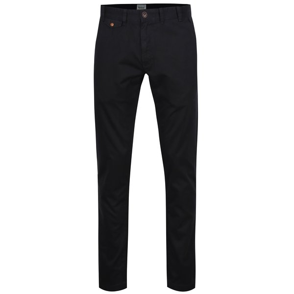 Pantaloni chino negri regular fit din bumbac - Barbour Neuston Twill