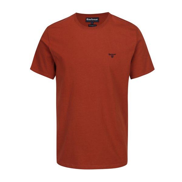 Tricou tailored fit caramiziu cu logo brodat Barbour Sports Tee