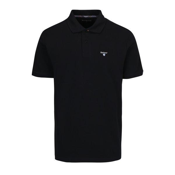 Tricou polo negru cu logo brodat Barbour Tartan Pique