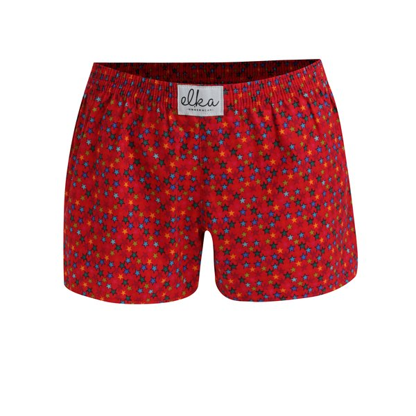 Boxeri rosii cu print stele pentru femei - El.Ka Underwear