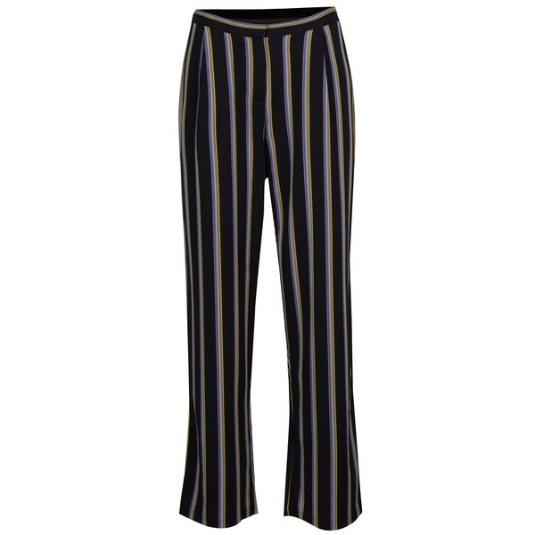 Pantaloni evazati negri cu dungi si talie inalta – Selected Femme Eda