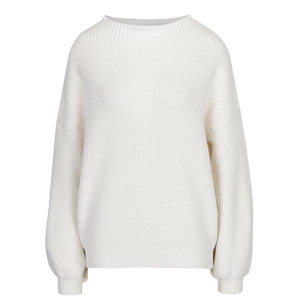 Pulover tricotat crem cu maneci balon si umeri cazuti - Selected Femme Festa
