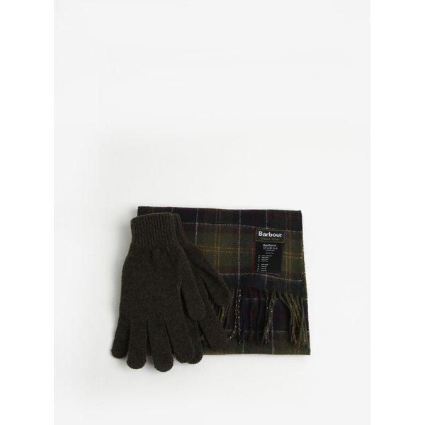 Set de manusi si fular din lana kaki in carouri - Barbour Gift Box