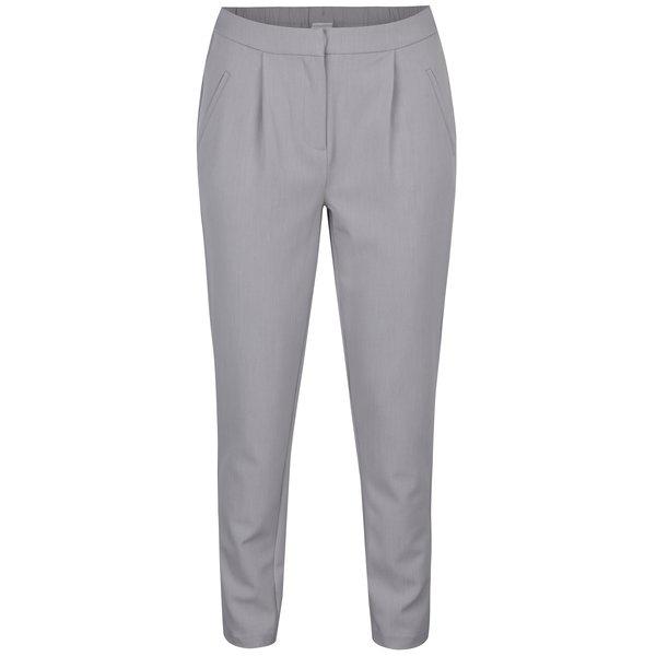 Pantaloni conici gri deschis cu buzunare si pense - VILA Rena