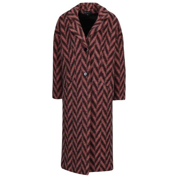 Palton de iarna rosu cu negru cu model Chevron Kvinna