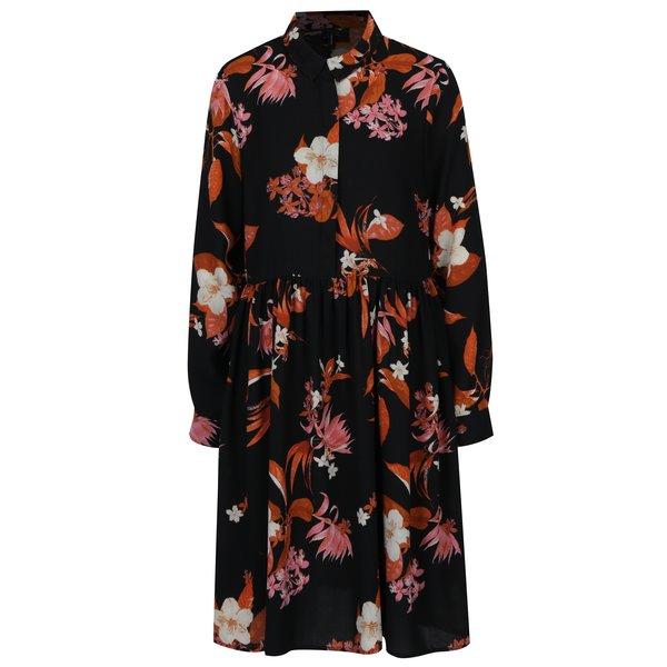Rochie camasa neagra cu print floral VERO MODA Aya