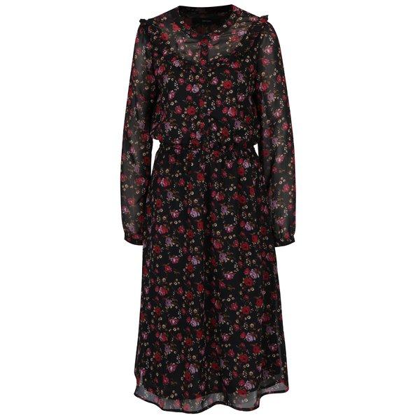 Rochie negru&rosu cu print floral si volane VERO MODA Rose
