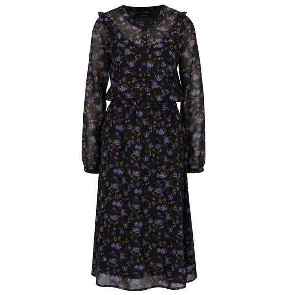 Rochie camasa neagra cu print floral si detalii transparente VERO MODA Rose