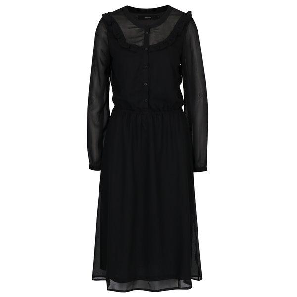 Rochie camasa neagra cu detalii transparente si volane VERO MODA Rose