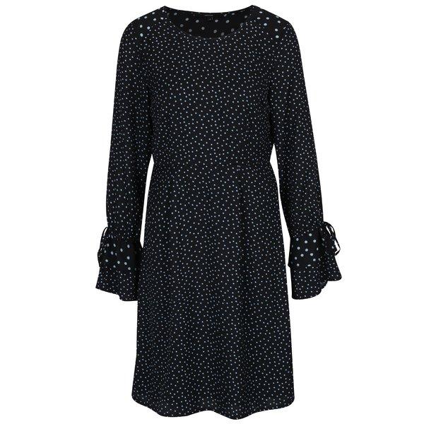 Rochie negru&albastru cu buline si maneci clopot VERO MODA Dragana
