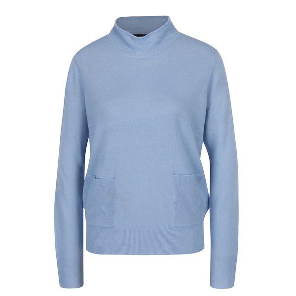 Pulover subtire bleu cu guler inalt si buzunare - VERO MODA Sami