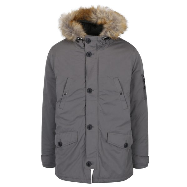 Geaca parka gri de iarna Burton Menswear London