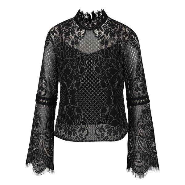 Bluza neagra cu maneci clopot si broderie Miss Selfridge