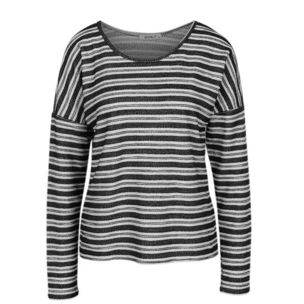 Bluza cu umerii cazuti si dungi crem & negru - Haily´s Enni