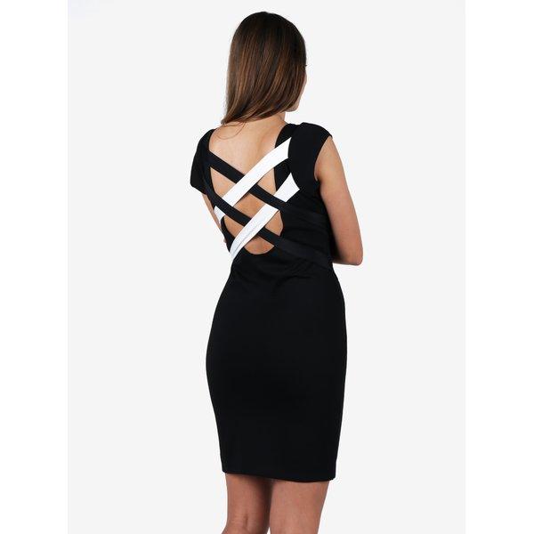 Rochie negru&alb bodycon cu bretele incrucisate la spate - ZOOT