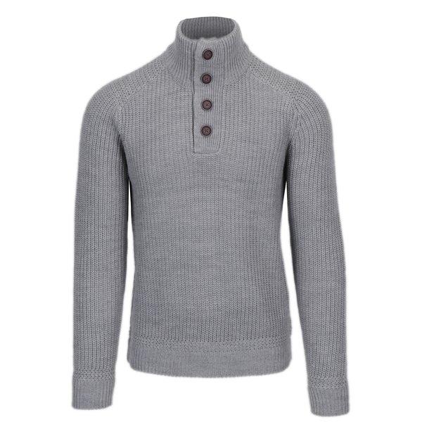 Pulover gri deschis cu guler inalt din amestec de lana Burton Menswear London