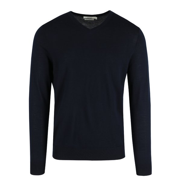 Pulover albastru închis din lână cu decolteu encoeur Jack & Jones Premium Mark