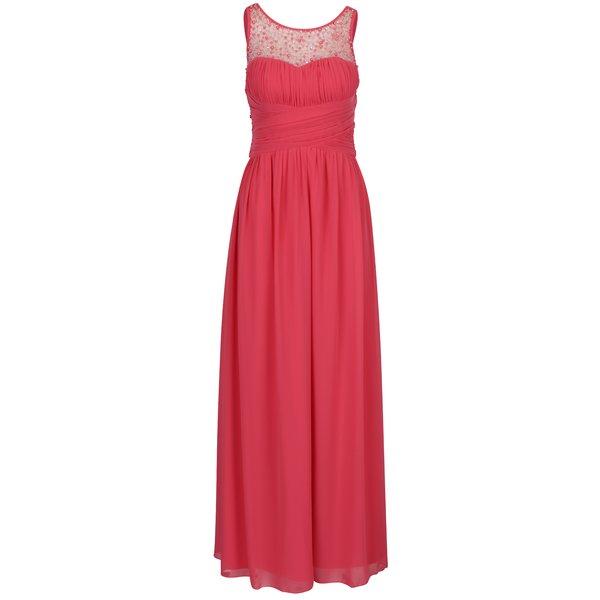 Rochie lunga roz cu pliseuri discrete si margele aplicate - Little Mistress