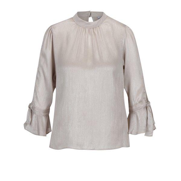 Bluza bej cu aspect metalic si maneci clopot Dorothy Perkins