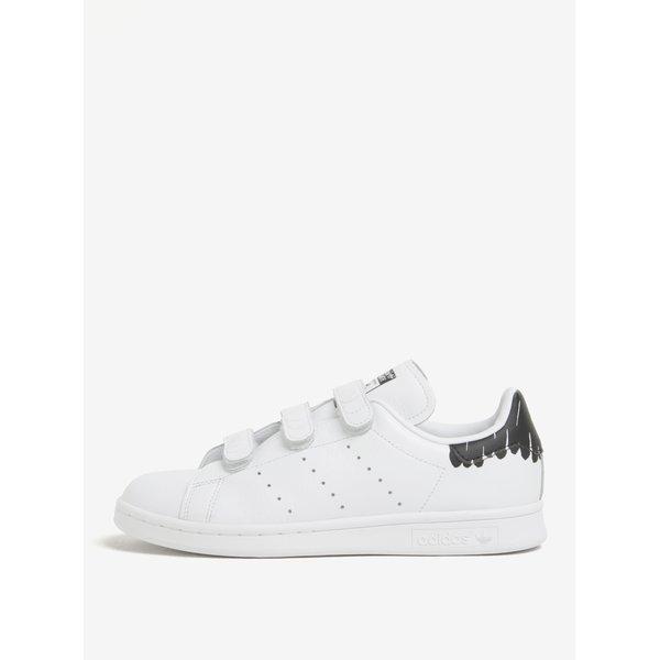 Pantofi sport albi unisex cu desene negre adidas Originals Stan Smith