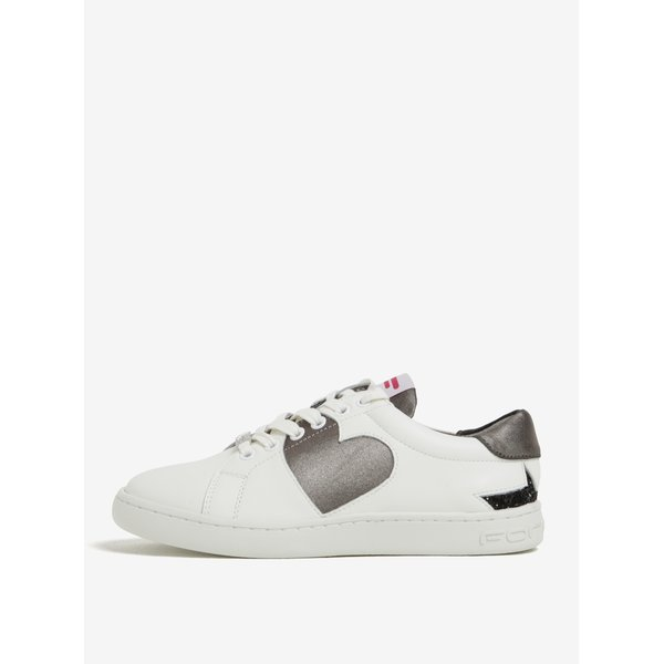 Pantofi sport alb&argintiu din piele cu paiete Fornarina Andromeda