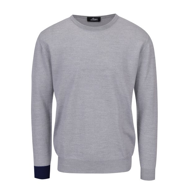 Pulover gri din lana merino cu manseta contrastanta - Live Sweaters