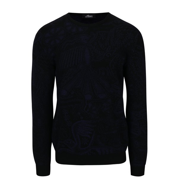 Pulover din lana merino negru cu model abstract - Live Sweaters Hikuri