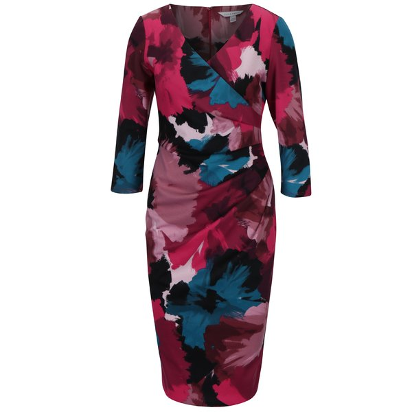 Rochie roz cu print abstract si pense laterale Dorothy Perkins