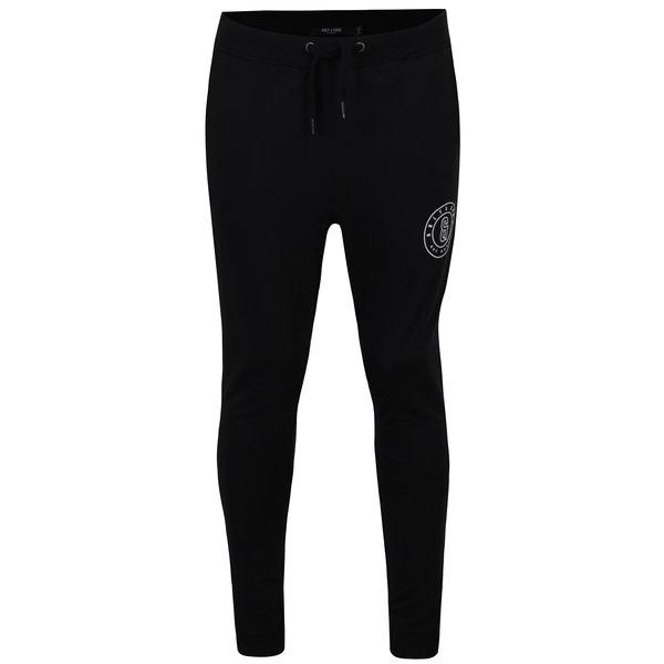 Pantaloni sport negri cu buzunare si print - ONLY & SONS Frana