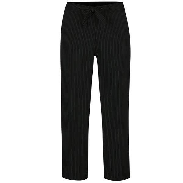 Pantaloni negri cu dungi si funda in talie - Jacqueline de Yong Chung