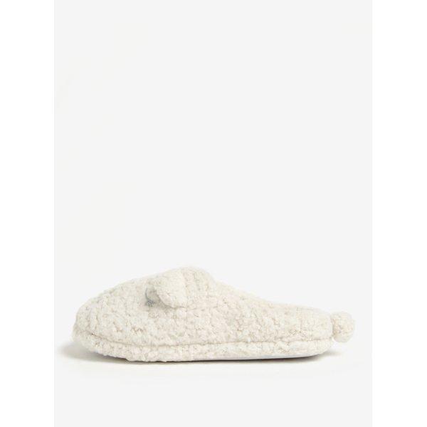 Papuci de casa crem din blana artificiala cu broderie Dorothy Perkins