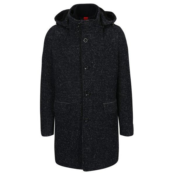 Palton bleumarin melanj cu gluga din amestec de lana s.Oliver