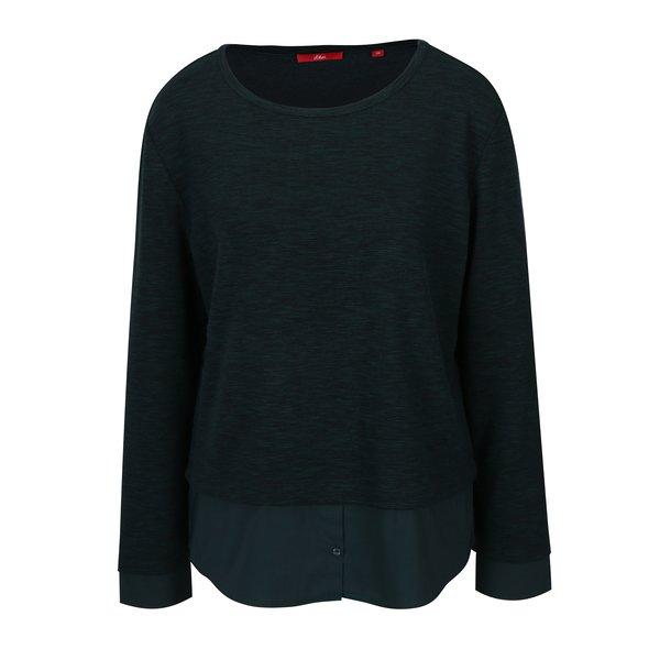 Bluza verde inchis cu aspect 2 in 1 pentru femei - s.Oliver