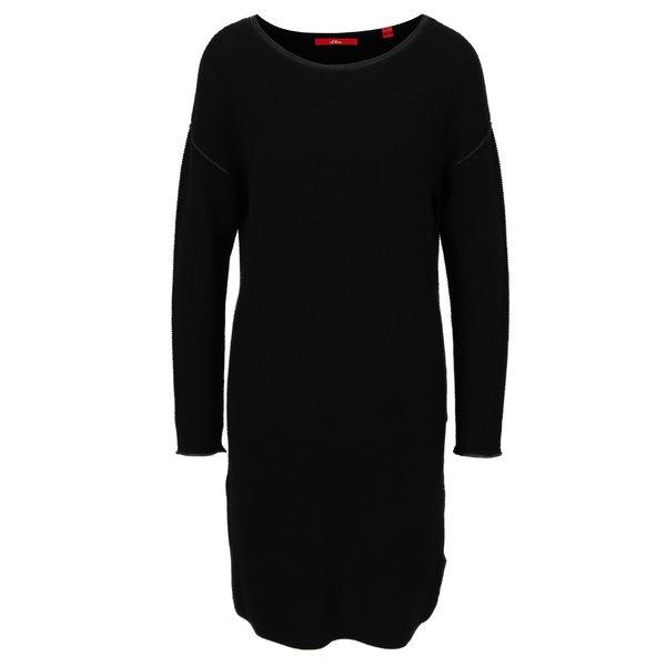Rochie pulover neagra cu maneci raglan si model in relief s.Oliver
