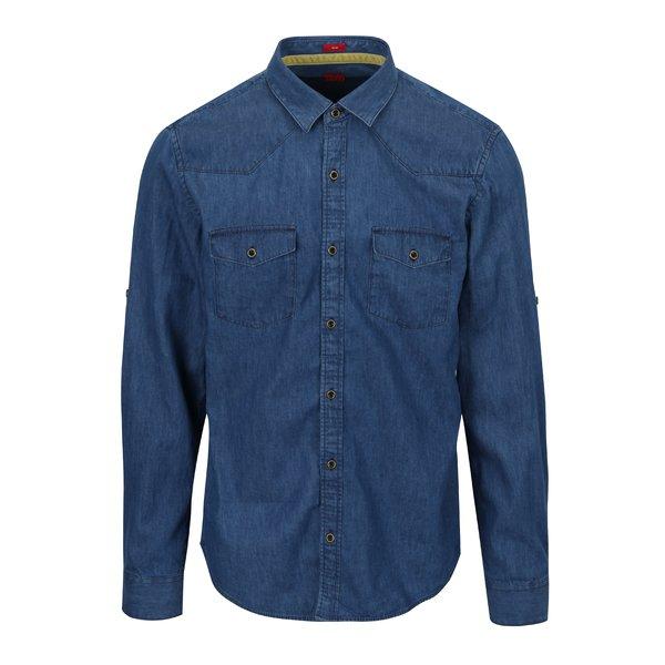 Camasa slim fit albastra din denim pentru barbati - s.Oliver