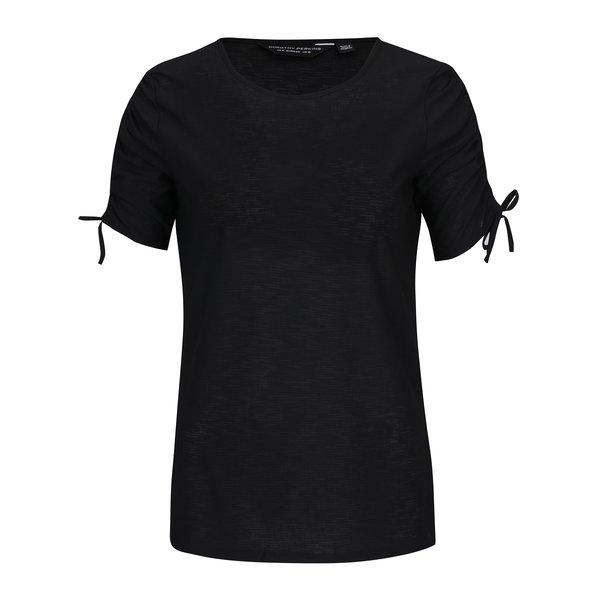 Tricou negru cu snur la terminatia manecilor - Dorothy Perkins