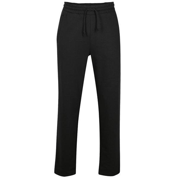 Pantaloni sport negri cu talie elastica si logo brodat – JP 1880