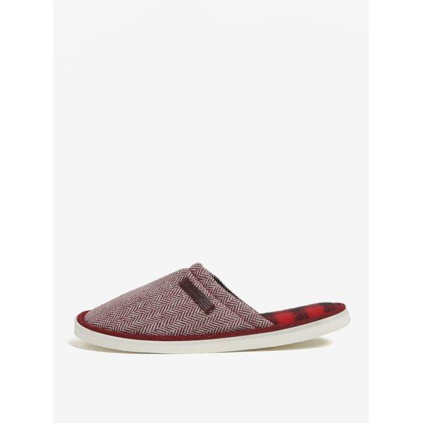 Papuci de casa unisex rosu&crem cu model chevron Oldcom Luxhome