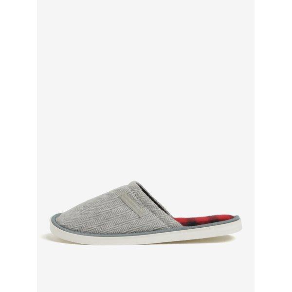 Papuci de casa unisex gri&crem cu model chevron Oldcom Luxhome