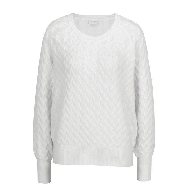 Pulover tricotat crem cu model discret - VILA Xa