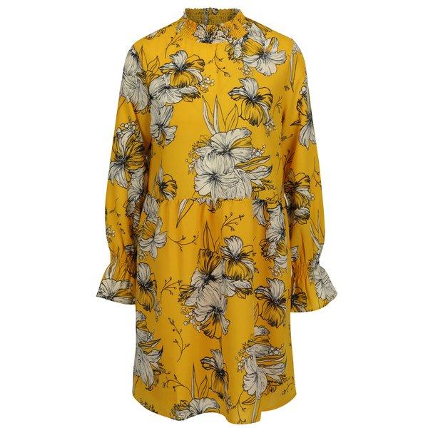 Rochie galbena cu print floral si maneci clopot - VILA Floppy