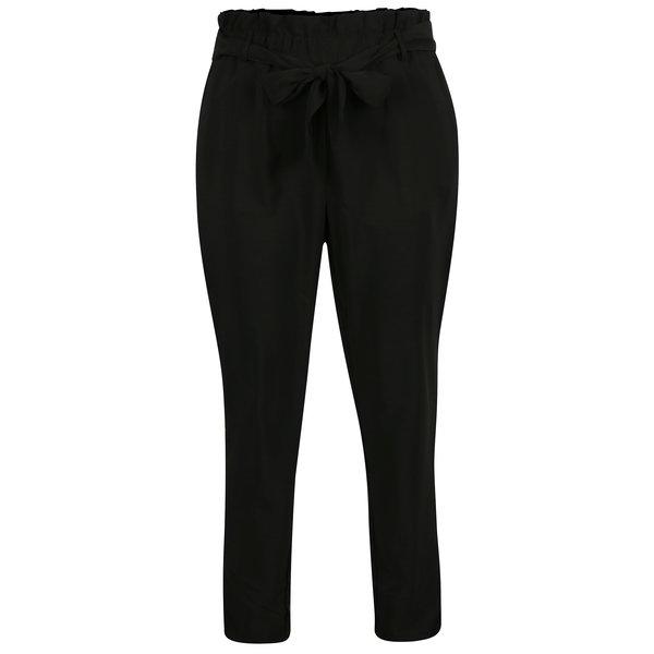 Pantaloni conici negri cu talie inalta si funda - VILA Elmine