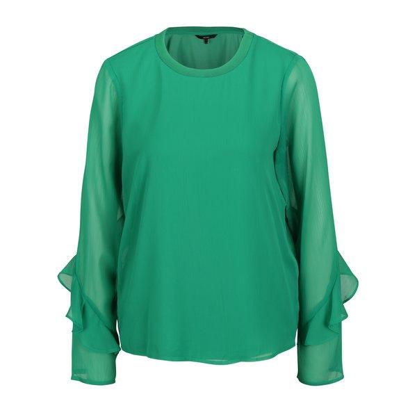 Bluza verde cu maneci translucide si volane - VERO MODA Ava