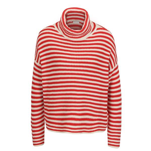 Pulover tricotat rosu cu dungi crem - Noisy May Harley