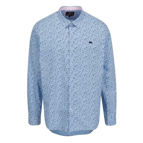 Camasa bleu cu print floral si logo brodat Raging Bull