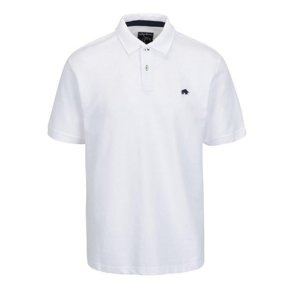 Tricou polo alb cu logo brodat - Raging Bull