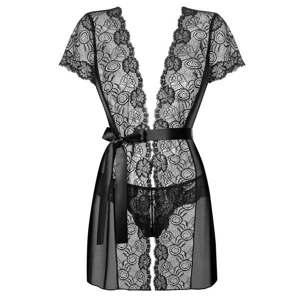 Set negru de camasa de noapte si chiloti tanga Obsessive Alluria Peignoir