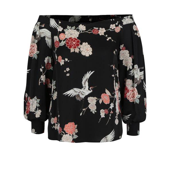 Bluza neagra cu umeri expusi si print floral Dorothy Perkins