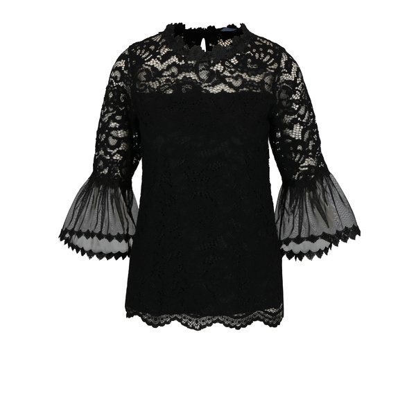 Bluza neagra din dantela cu maneci clopot Dorothy Perkins